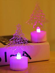 Недорогие -HKV 2pcs Рождественская елка LED Night Light RGB Батарея с батарейкой Мультипликация / Очаровательный / Простота транспортировки Батарея