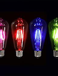 Недорогие -4шт 4 W 360 lm E26 / E27 LED лампы накаливания ST64 4 Светодиодные бусины COB Для вечеринок / Декоративная / Праздник Красный / Синий / Зеленый 220-240 V