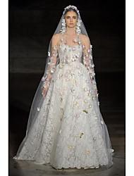 billige -A-linje Kæreste Gulvlang Blondelukning / Tyl Made-To-Measure Brudekjoler med Blonde ved LAN TING BRIDE®