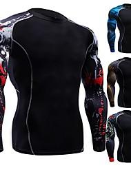 abordables -Homme Sweatshirt Des sports Imprimé Spandex Hauts / Top Pour Course / Running, Fitness, Gymnastique Manches Longues Grandes Tailles Tenues de Sport Respirable, Séchage rapide, Design Anatomique Haute