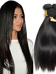 Недорогие -4 Связки Малазийские волосы Прямой 8A Натуральные волосы Человека ткет Волосы Удлинитель Пучок волос 8-28 дюймовый Естественный цвет Ткет человеческих волос Шелковистость Гладкие Лучшее качество