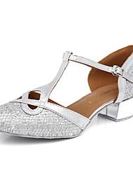 baratos -Mulheres Sapatos de Dança Moderna Sintéticos Salto Presilha / Lantejoula Salto Grosso Sapatos de Dança Dourado / Preto / Prata