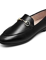 abordables -Femme Chaussures de confort Cuir Nappa Printemps Mocassins et Chaussons+D6148 Talon Plat Bout rond Noir / Rose et blanc / Brun Foncé
