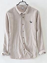 Недорогие -мужская льняная / хлопковая свободная рубашка - полосатая квадратная шея