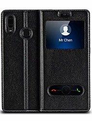 billige -Etui Til Huawei P20 Pro / P20 lite Stødsikker / Med stativ / Flip Fuldt etui Ensfarvet Hårdt ægte læder for Huawei P20 / Huawei P20 Pro / Huawei P20 lite