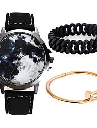 Недорогие -Для пары Наручные часы Кварцевый Секундомер Очаровательный Творчество Кожа Группа Аналоговый Кольцеобразный Мода Черный - Черный Синий Один год Срок службы батареи