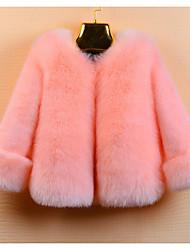 Недорогие -Дети Девочки Классический Однотонный Длинный рукав Искусственный мех На пуховой / хлопковой подкладке Бежевый