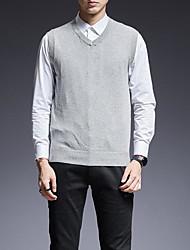 Недорогие -мужской выход без рукавов тонкий жилет - сплошной цвет шеи