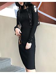 رخيصةأون -فستان نسائي ثوب ضيق أناقة الشارع طول الركبة لون سادة