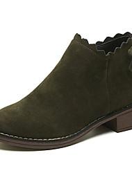 abordables -Femme Fashion Boots Polyuréthane Automne Décontracté Bottes Talon Bas Bottes Mi-mollet Noir / Vert