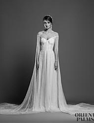 billige -A-linje Stropløs Hofslæb Blondelukning / Tyl Made-To-Measure Brudekjoler med Blonde ved LAN TING BRIDE®