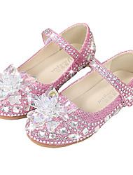Недорогие -обувь для девочек пу (полиуретан) весна&  осенняя цветочная обувь для девочек со стразами для детей / белый / фиолетовый / розовый