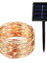 Недорогие -10 м Гирлянды 100 светодиоды Тёплый белый Декоративная Солнечная энергия 1 комплект