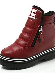 Недорогие -Жен. Армейские ботинки Полиуретан Зима Ботинки На плоской подошве Круглый носок Черный / Красный