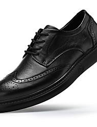 Недорогие -Муж. Кожаные ботинки Наппа Leather Осень На каждый день / Английский Туфли на шнуровке Массаж Черный