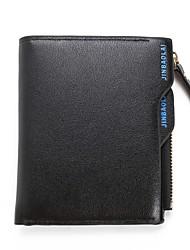 Недорогие -Муж. Мешки PU Бумажники Молнии / Рельефный Сплошной цвет Синий / Черный
