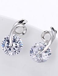 abordables -Femme Zircon cubique Bandoulière Boucles d'oreille goujon - Imitation Diamant Rétro, Mode, Elégant Argent Pour Vacances Travail