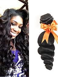 Недорогие -3 Связки Перуанские волосы Свободные волны 8A Натуральные волосы Человека ткет Волосы Пучок волос One Pack Solution 8-28 дюймовый Естественный цвет Ткет человеческих волос
