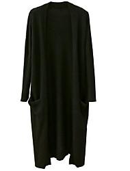 billige -Kvinder går ud med lange ærmer med overtrøje lange cardigan - solidfarvet