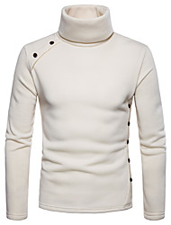 Недорогие -мужская длинная рукавная рубашка - сплошная цветная водолазка