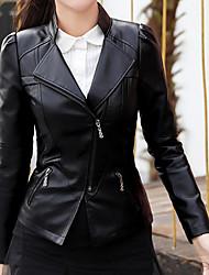 Недорогие -Жен. Повседневные Короткая Кожаные куртки, Однотонный Отложной Длинный рукав Полиуретановая Черный XL / XXL / XXXL