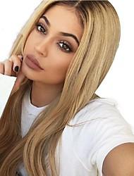 Недорогие -человеческие волосы Remy Полностью ленточные Лента спереди Парик Ассиметричная стрижка Аврил стиль Бразильские волосы Прямой Естественный прямой Блондинка Парик 130% 150% 180% Плотность волос