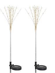 Недорогие -2pcs 6 W Свет газонные Водонепроницаемый / Работает от солнечной энергии / Декоративная Тёплый белый / Белый / Разные цвета 1.2 V Уличное освещение / Сад 100 Светодиодные бусины