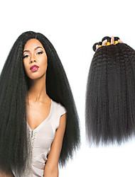 Недорогие -4 Связки Бразильские волосы Вытянутые 8A Натуральные волосы Головные уборы Удлинитель Пучок волос 8-28 дюймовый Черный Естественный цвет Ткет человеческих волос