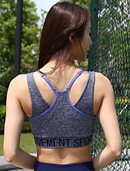 billige -Dame Scoop Neck Sexy SportsBH'er - Sort, Blå, Lys pink Sport Trykt mønster Toppe Yoga, Løb Sportstøj Åndbart Elastisk Tynd