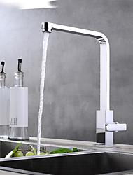 Недорогие -кухонный смеситель - Одной ручкой одно отверстие Хром Настольная установка Современный Kitchen Taps