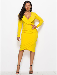 tanie -Damskie Moda miejska Pochwa Sukienka - Solidne kolory, Falbana Midi