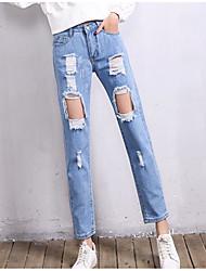 baratos -Mulheres Punk & Góticas Jeans Calças - Sólido