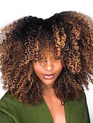 baratos -Cabelo Natural Remy Não processado Cabelo Natural 4x4 Encerramento Frente de Malha Peruca Cabelo Brasileiro Cabelo Mongol Afro Kinky Kinky Curly Peruca Bob curto 180% Densidade do Cabelo com o cabelo
