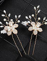 billige -Legering Hair Stick med Bjergkrystal / Perle 1 Stykke Bryllup / Dagligdagstøj Medaljon