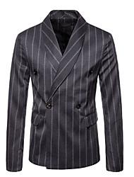 저렴한 -남성용 일상 가을 보통 블레이져, 줄무늬 셔츠 카라 긴 소매 폴리에스테르 화이트 / 블랙 / 다크 그레이 XXL / XXXL / XXXXL