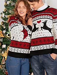 저렴한 -남성용 / 여성용 크리스마스 / 파티 과장된 기하학 긴 소매 루즈핏 보통 풀오버, 라운드 넥 가을 / 겨울 루비 원사이즈