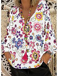 Недорогие -Жен. Большие размеры - Блуза V-образный вырез Цветочный принт
