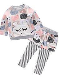 billige -Baby Jente Grunnleggende Daglig Geometrisk Langermet Normal Normal Polyester Tøysett Rosa