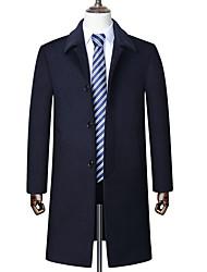 Недорогие -Муж. Повседневные Классический / Уличный стиль Большие размеры Длинная Пальто, Однотонный Приподнятый круглый Длинный рукав Шерсть Черный / Темно синий / Серый