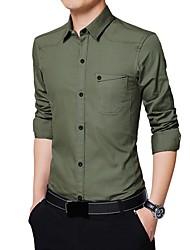 Недорогие -Муж. Офис Большие размеры - Рубашка Хлопок Деловые / Классический Однотонный / Длинный рукав / Лето
