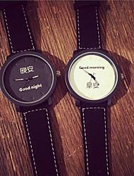 Недорогие -Для пары Наручные часы Кварцевый Черный Светящийся Повседневные часы Аналоговый Элегантный стиль минималист - Белый Черный