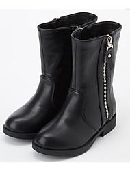 Недорогие -Девочки Обувь Полиуретан Зима Модная обувь Ботинки Молнии для Дети Черный / Коричневый