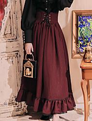 baratos -Doce Casual Lolita Dress Artistíco / Retro Doce Feminino Saia Cosplay Verde / Azul / Rosa claro Riscas Comprimento Longo Fantasias