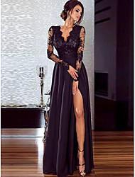 Недорогие -Жен. Для вечеринок Элегантный стиль С летящей юбкой Платье V-образный вырез Макси / Сексуальные платья