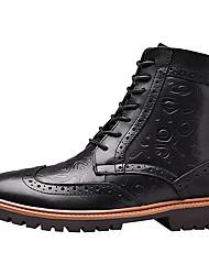 Недорогие -Муж. Кожаные ботинки Наппа Leather Наступила зима Винтаж / На каждый день Ботинки Дышащий Ботинки Черный / Коричневый