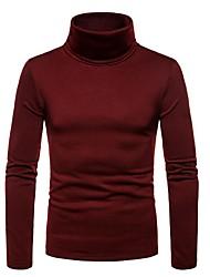 baratos -t-shirt de algodão para homem - gola alta de cor sólida