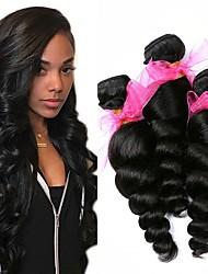 Недорогие -3 Связки Бразильские волосы Монгольские волосы Свободные волны 8A Натуральные волосы Необработанные натуральные волосы Подарки Косплей Костюмы Головные уборы 8-28 дюймовый Естественный цвет