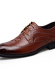 Недорогие -мужская официальная обувь наппа кожа зима бизнес / британский оксфорд массаж черный / коричневый / вечеринка& вечер