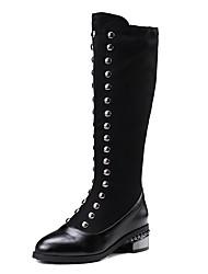 Недорогие -sw 5050 женщин pu (полиуретан) падение& зима британский / минимализм сапоги низкий каблук круглый носок колено высокие сапоги заклепки черный