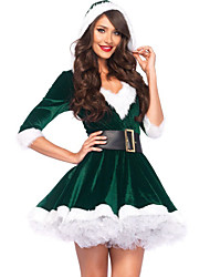 baratos -Mulheres Sexy Conjunto Roupa de Noite - Renda, Natal Estampa Colorida / Decote V